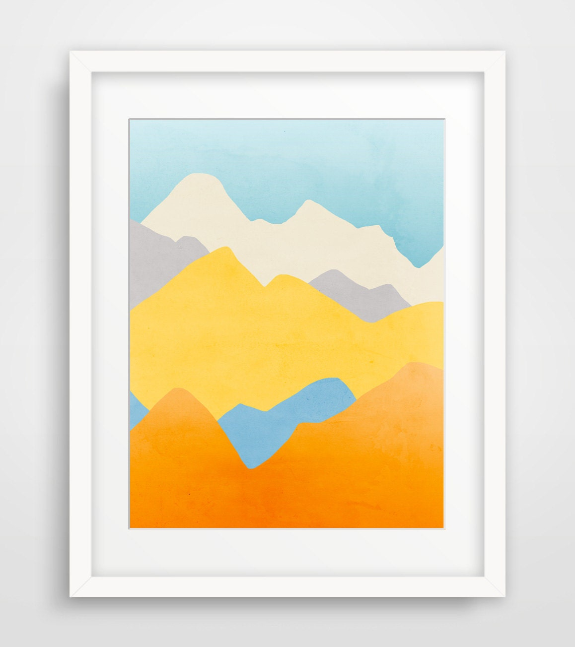 Colorful wall art mountain print mountain nursery abstract for Minimalist art decor