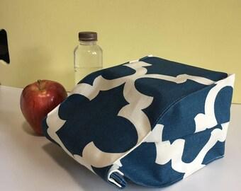 Blue Handmade Lunch Bag - Paper Bag Style