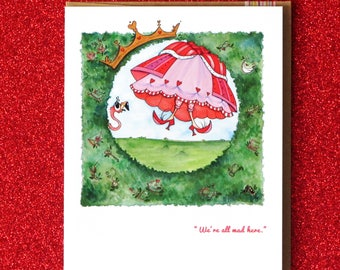 Königin der Herzen Alice im Wunderland-Grußkarte Blanko Feen Märchen Füße jeden Anlass Lewis Carroll Schnecke Post stationär handgefertigt