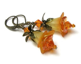 Tangerine Orange Yellow Two Tone Acrylic Flower Swarovski Crystal Antique Brass Earrings Summer Party Hand Dyed Floral Jewelry Gifts For Her
