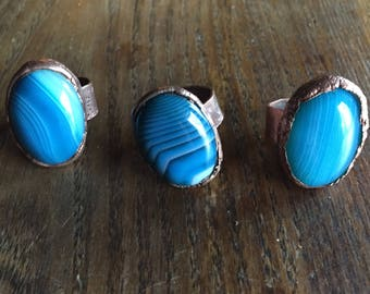 eform ring, copper ring, blue lace agate,accessories