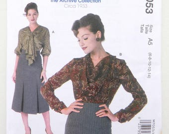 1930's Tops - McCall's Archive Collection Circa 1933 uncut sewing pattern M7053 sizes 6 - 22;