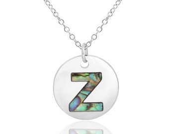 Letter Z Initial Necklace Abalone Necklace Abalone Pendant Birthday Gift Hypoallergenic Jewelry Abalone Shell Jewellery Paua Shell Necklace