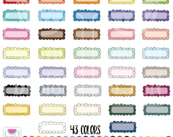 Doodle Quarter box scallop stitched Clipart. Personal and comercial use.