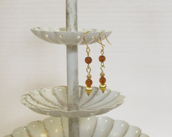Genuine Natural Amber Earrings, Gold-Plated Earwires, Civil War, Victorian Appropriate -- Affordable Elegance