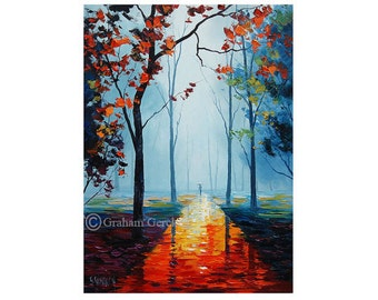 LARGE OIL Painting autumn trees oil Painting  Tree paintings Impressionist Art deco by Graham gercken