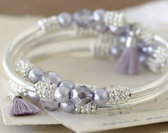 Lavender Memory Wire Bracelet - Beaded Wrap Bracelet - Mother of the Bride Jewelry - Elegant Bracelet for Mom - Swarovski Pearl Bracelet