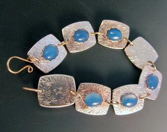 Blue Agate Sterling Silver Bracelet with Gold Accents