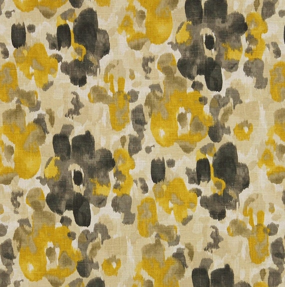 Yellow Charcoal Grey Linen Upholstery Fabric - Watercolor Floral ...