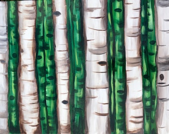 Green Landscape Painting, Acrylic painting on canvas, Birch trees forest