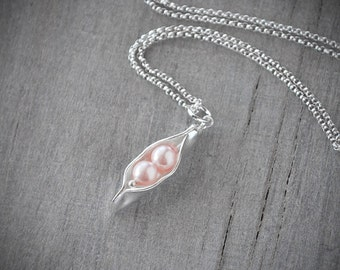 Two Pea Pod Necklace - Pink Pearl Pea Pod - Silver Pea Pod Mother's Necklace - Mom's Pearl Peas in a Pod Pendant - Push Gift - Two Peas