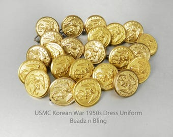 Vintage Korean War Marine Corps Military Buttons USMC Dress Uniform Buttons Eagle and Anchor 1950s Waterbury Button Company