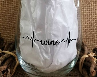 Wine Heartbeat Stemless Wine Glass
