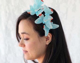 Blue Pastel Butterfly Headband - bridal shower, baby shower, fairy, bride, wedding, something blue