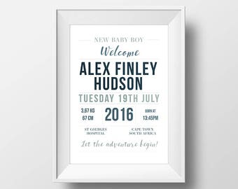 Unique Personalized Design Name Birth Stats Nursery Announcement Print Baby Room Art Baby Wall Art