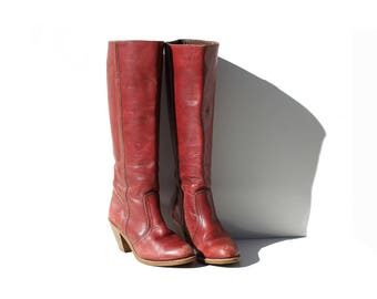 Vintage Burgundy Leather Tall Knee High Boots / 6.5