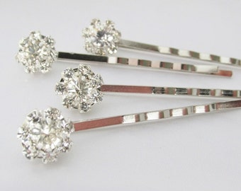Wedding Rhinestone Hair Pins, Silver Crystal Hair Pins, Bridal Hair Pins, Wedding Hair Accessories, Bridal Hair Jewelry, Rhinestone Clips