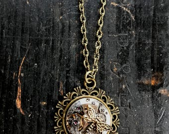 Repuposed Vintage Watch Movement with Dragonfly Necklace Steampunk, Industrial Style Jewelry, OOAK Handmade from Recycled Watch Parts,