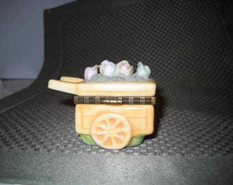 Ceramic miniature flower cart