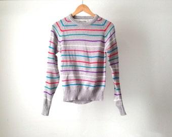90s vintage STRIPED grey & bright grunge SLOUCHY warm sweater
