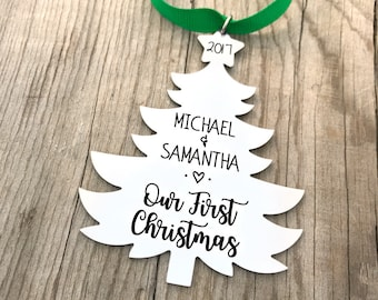 Our First Christmas Ornament - Newlywed Couple Christmas - Newlywed Gift - Family Christmas Ornament - Just Married Ornament - Decor - 1440