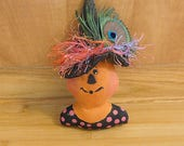 Halloween Pumpkin Girl Ornament Orange Bowl Fillers Fall Holiday Decorations