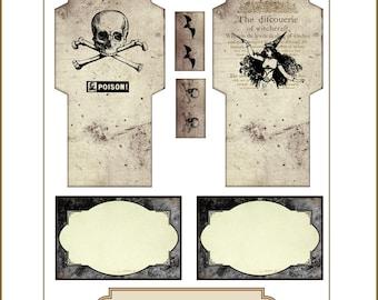 Halloween Envelopes and Blank Labels Witch Skull Cross Bones Bats Poison Junk Journals Tea Bags Printable Digital Collage Sheet
