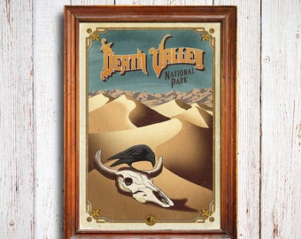 Death Valley poster, Death Valley National Park, California Desert , Death Valley dunes, Death Valley art print, desert dunes poster