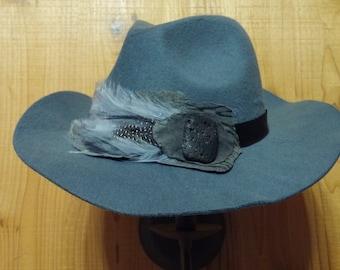 Gray Cowboy cut fedora CLEARANCE!