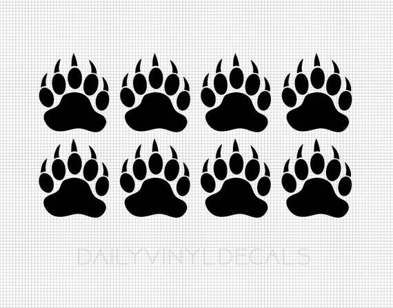 8 Pack Bear Paw Print Decals *Choose size & color* Bear Claw Print Black Bear Polar Bear - Set of 8 Paw Print Stickers - Die Cut