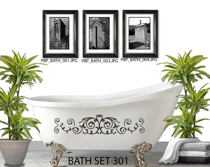 OUTHOUSE WALL SET-3 Framed And Matted Prints - Free Shipping - Black Or  White Frames - In 4 Sizes - Mix And Match - Create a Gallery Wall