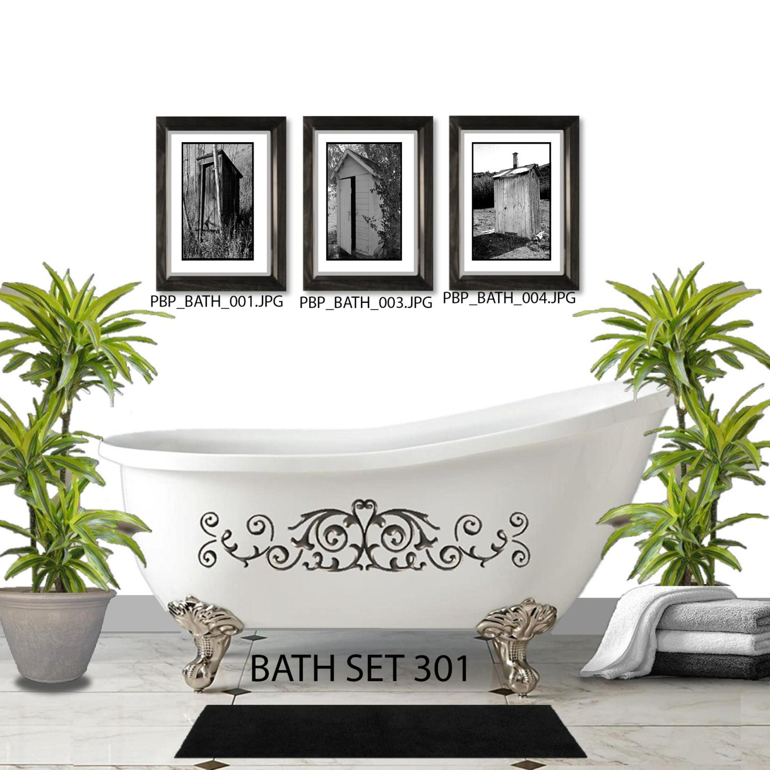 Outhouse wall set 3 framed and matted prints free shipping outhouse wall set 3 framed and matted prints free shipping black or white frames in 4 sizes mix and match create a gallery wall jeuxipadfo Images