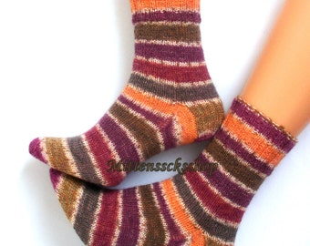 Hand Knitted Purple Orange Striped Socks Purple Orange Hand Knit Women's Socks Purple Orange Girl's Socks Winter Socks Warm Socks Gift idea
