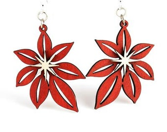 Poinsettia Earrings - Laser cut Wood
