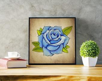 """Blue Rose - new school tattoo design - 15.5""""x15.5"""" (digital download)"""