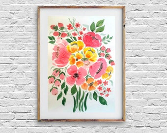 Bouquet of Flowers Original Watercolor Painting Floral Wall Art Abstract Flower Spring Art Garden Flower Art Floral Illustration Bouquet Art