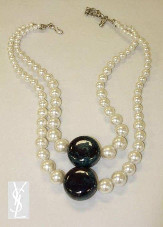 YSL Yves Saint Laurent Necklace Bakelite and Pearls