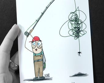 "Bob Fly Fishing Cartoon Series Wind Knot Art Print 5""x7"""