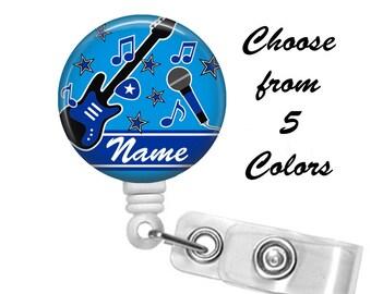 Music Badge Reel Personalized Name (5 Choices), ID Badge Holder, Medical Badge Reel, Nurse, Guitar, Rock Star, Belt or Alligator clip
