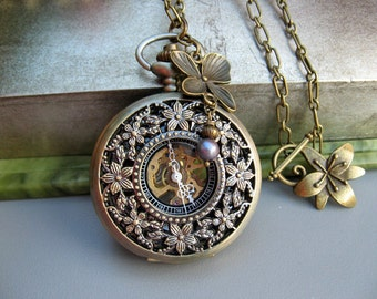 Cherry Blossom Pocket Watch Necklace, Antique Bronze Pocket Watch, Orchid & Black Pearl Charm - Item MPW-N67