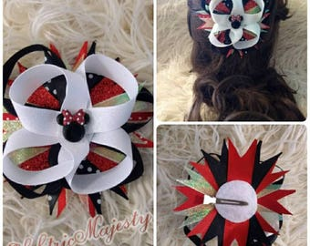 Red Minnie Mouse inspired bow