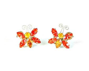 Vintage Juliana Butterfly Earrings, Delizza and Elster Orange Rhinestone Butterfly Earrings, 1950s D&E Earrings.