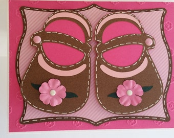 Baby Girl Shoes Card