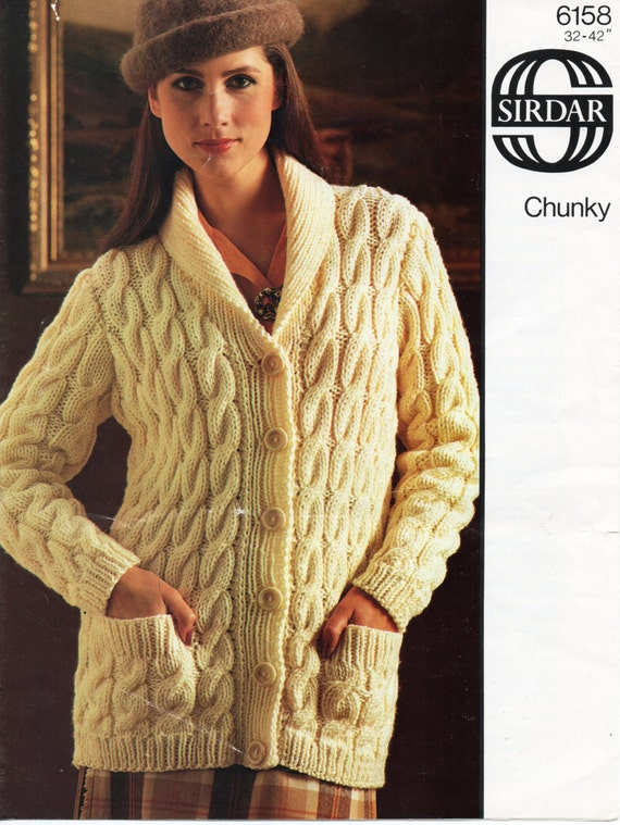 Vintage Womens Chunky Cable Cardigan Knitting Pattern Pdf Download