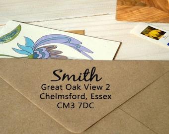Contemporary Dual Font Return Address Olive Wood Stamp