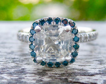 Cushion Cut White Sapphire Engagement Ring in 14K White Gold with Teal Blue Diamonds in Halo-Style Setting Size 6