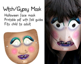 Halloween Mask - Witch or Gypsy - Printable PDF