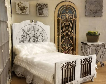 Miniature dollhouse engraved French style twin bed 1:12 scale