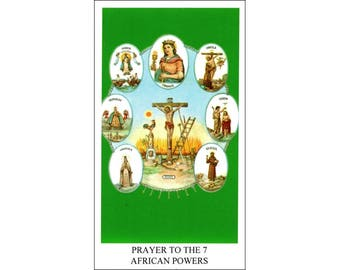 5 Seven African Powers (Siete Potentias) Holy Cards / Prayer Cards    (F-EE)