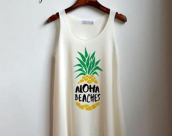 Beach Shirt - Pineapple Tank Top - Pineapple Shirt - bikini Clothing Tank Top Womens